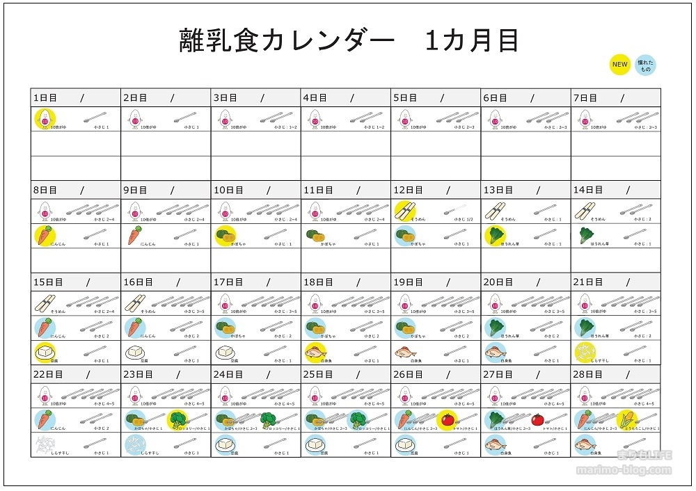 【無料】離乳食カレンダー1ヵ月目