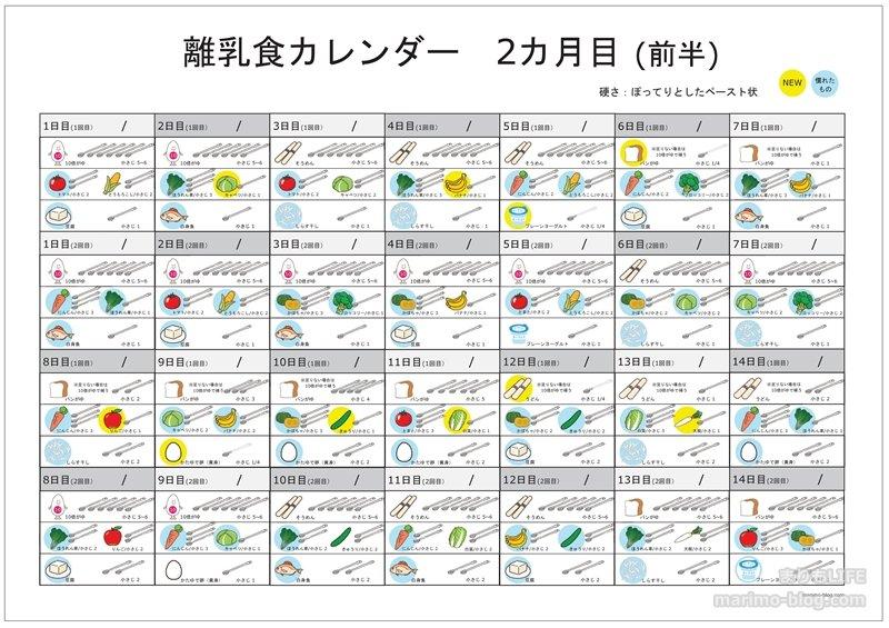 【無料ダウンロード】離乳食カレンダー2ヵ月目