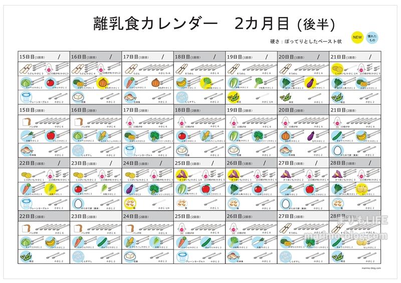 【無料】離乳食カレンダー(2ヵ月目・後半)
