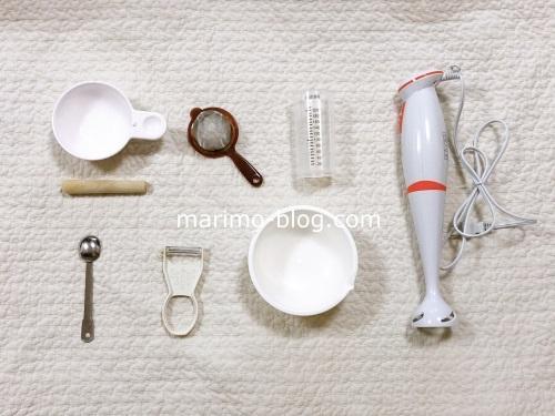 離乳食作り(初期)で必要だったもの(すり鉢・こし器・軽量カップ・小さじ・ピーラー・おろし器・耐熱容器・ハンドブレンダー)